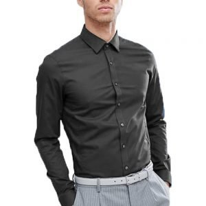 Calvin Klein Long Sleeved Poplin Shirt Charcoal