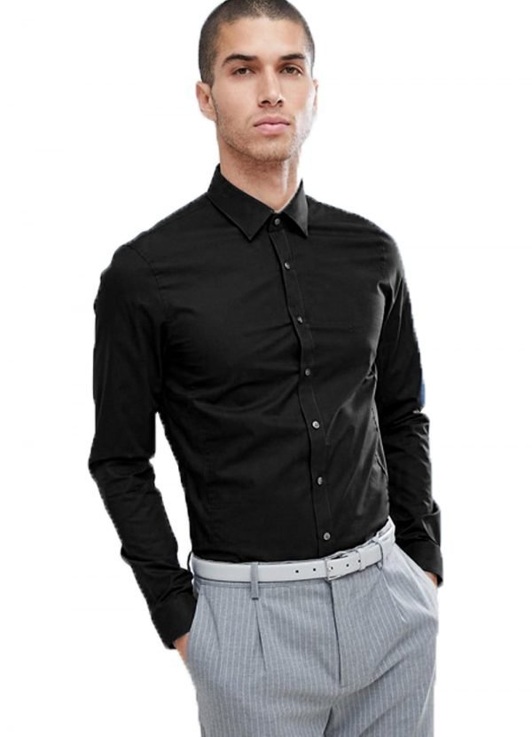 Calvin Klein Long Sleeved Poplin Shirt Black