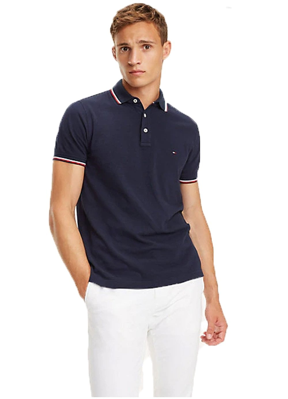 8456591a Tommy Hilfiger Tommy Tipped Slim Polo Navy Blazer – Time Clothing
