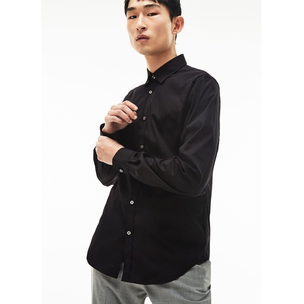 4b5f2831fd Lacoste Men's Slim Fit Stretch Cotton Poplin Shirt in Black