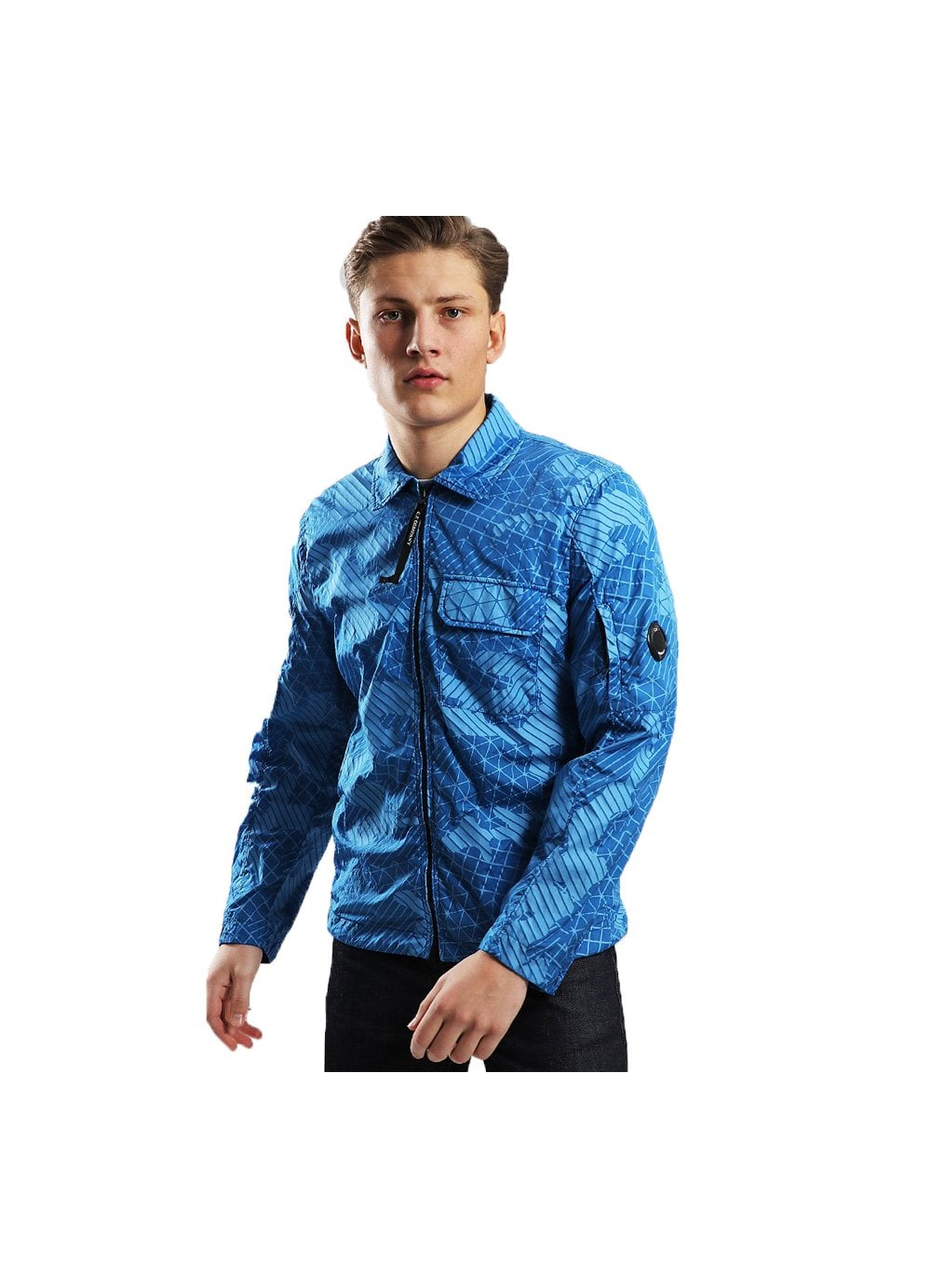 f5dc3d16b8974 Mens CP Company Camo Net Arm Lens Shirt Jacket Imperial Blue - Time ...