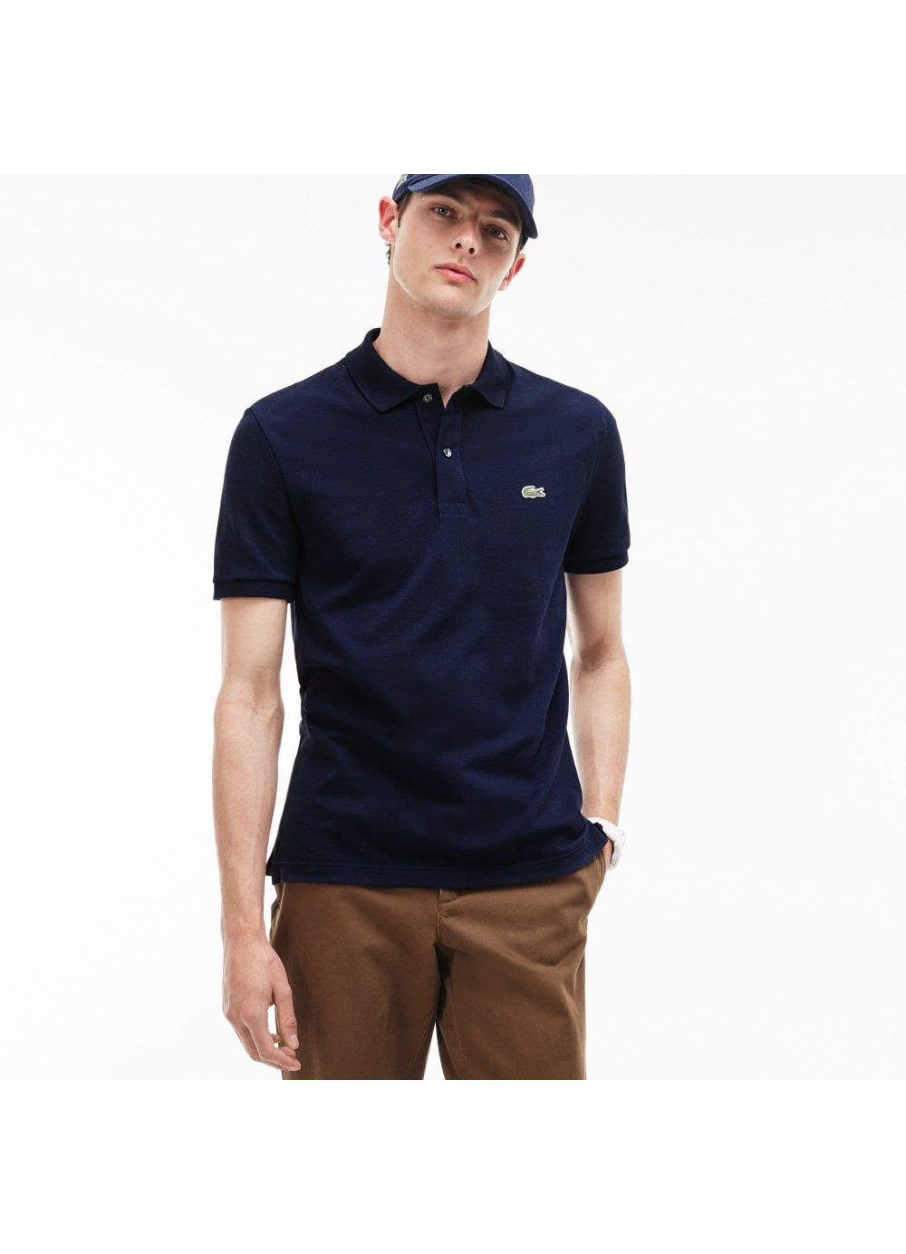 a43a4e037 Mens Lacoste Short Sleeved Slim Fit Polo Shirt Navy - Time Clothing