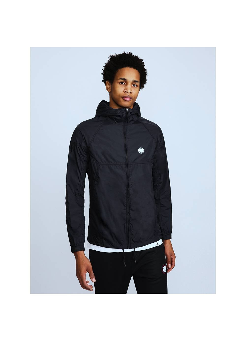 b913d4f4369 Mens Pretty Green Lightweight Zip Up Hooded Jacket Navy - Time Clothing