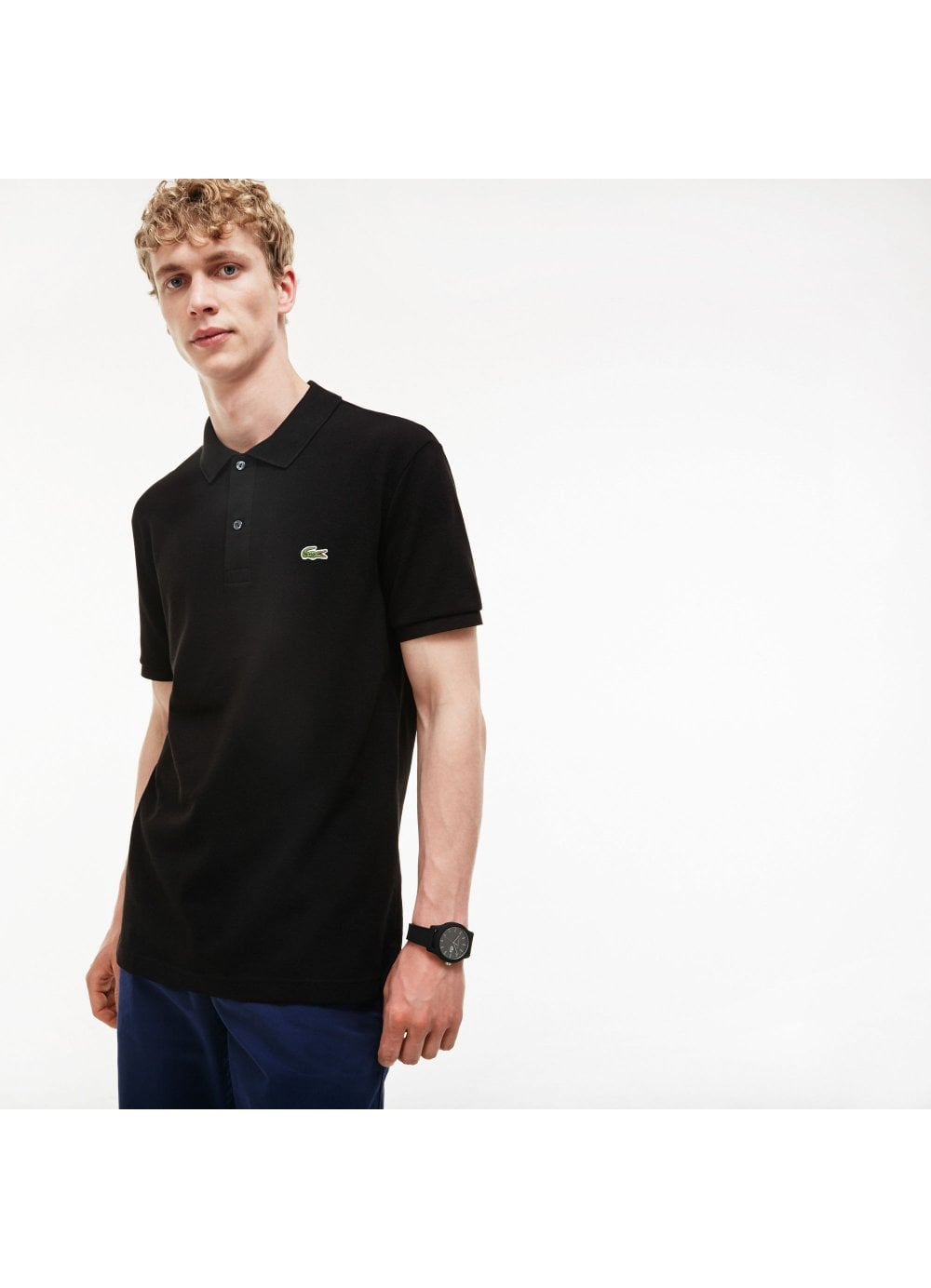 d1564286 Mens Short Sleeved Slim Fit Lacoste Polo Shirt Black - Time Clothing