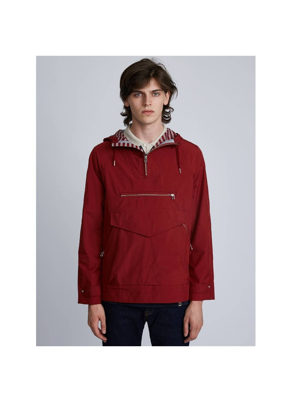 832434eda3ab6 Pretty Green Mens Water Resistant Overhead Hooded Jacket Red - Time Clothing