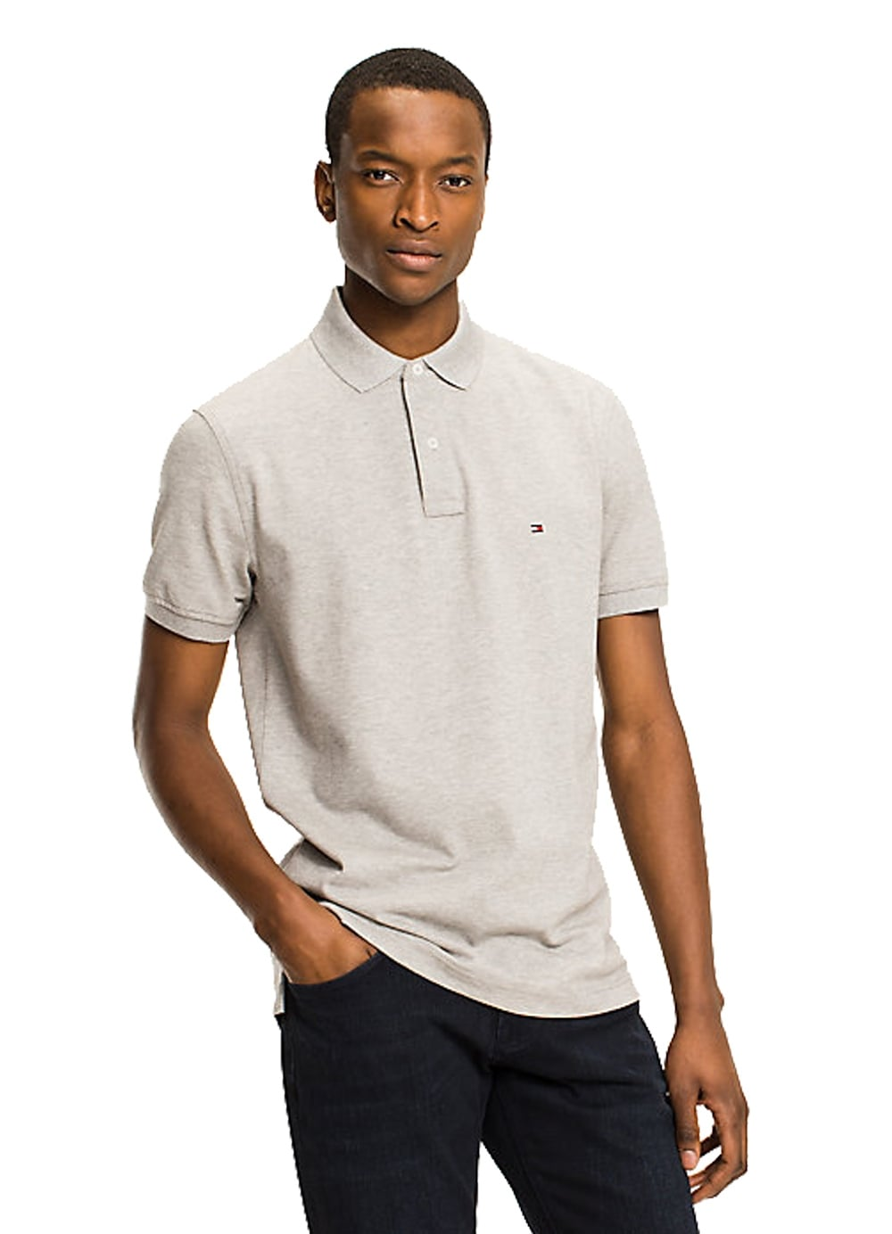 87f9174a Tommy Hilfiger Core Tommy Regular Polo Cloud HTR - Time Clothing